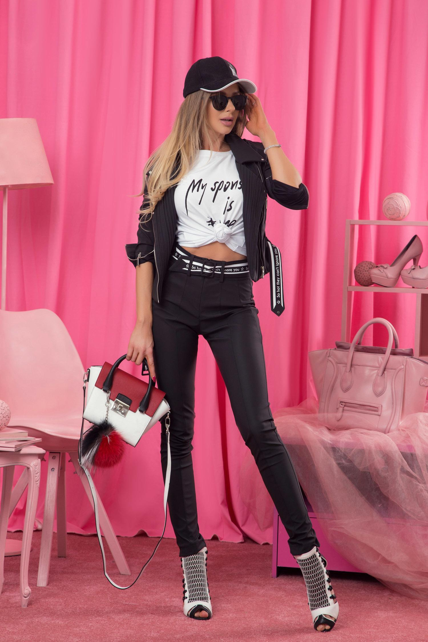 373bdf0f919 Can't ignore you панталон с висока талия - черен - Alessa