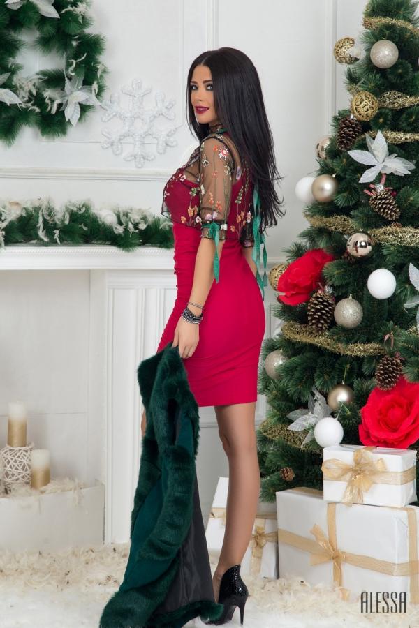 Червена къса рокля по тяло Фатално привличане